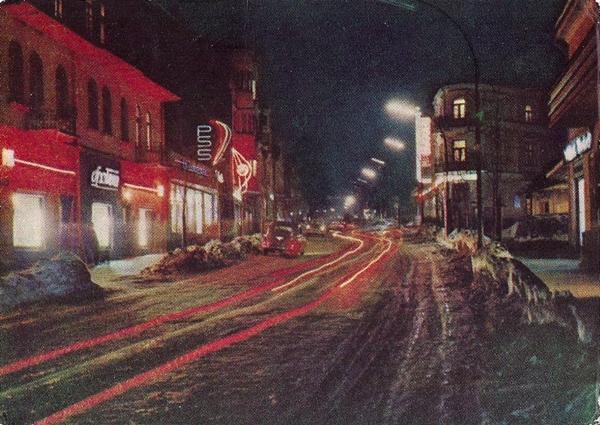 Zakopane,Ulica Krupówki nocą, wg fotografii barwnej P. Krassowskiego