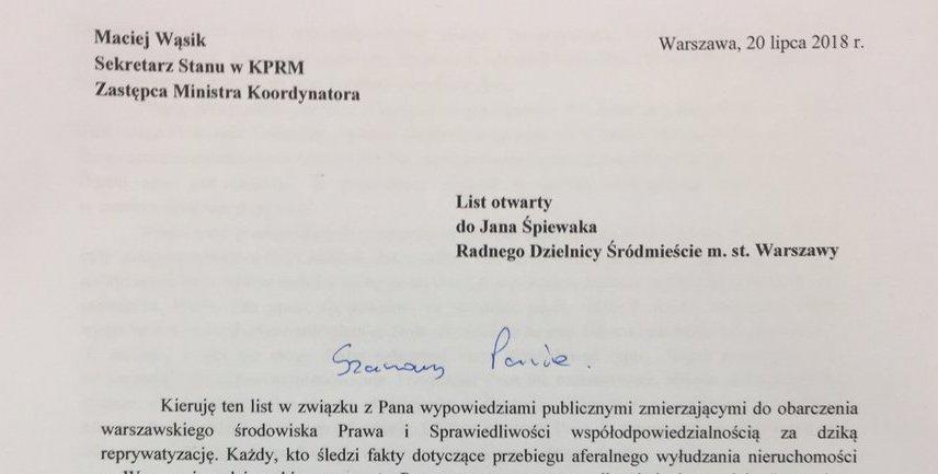 List otwarty ministra Macieja Wąsika do Jana Śpiewaka