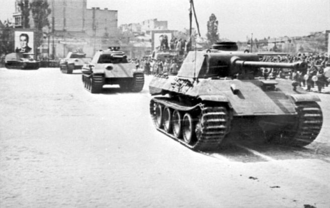 Romanian Panther tanks on the move.