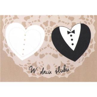 Kartka ślubna - serca