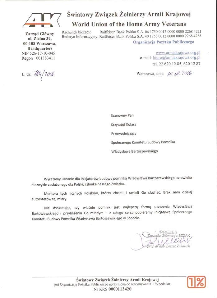 List poparcia Światowego Związku Żołnierzy Armii Krajowej