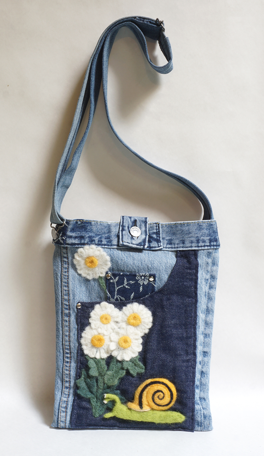 Slow Daisies up-cycled jean bag