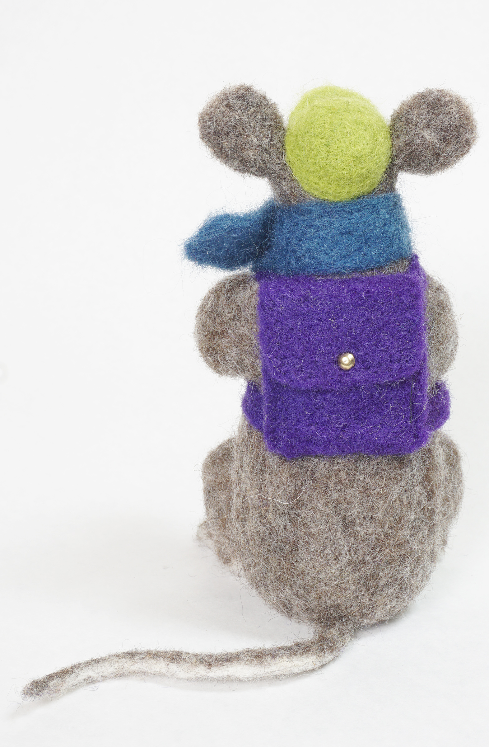 Adventure Begins anthropomorphic needle felted mouse art doll - back view