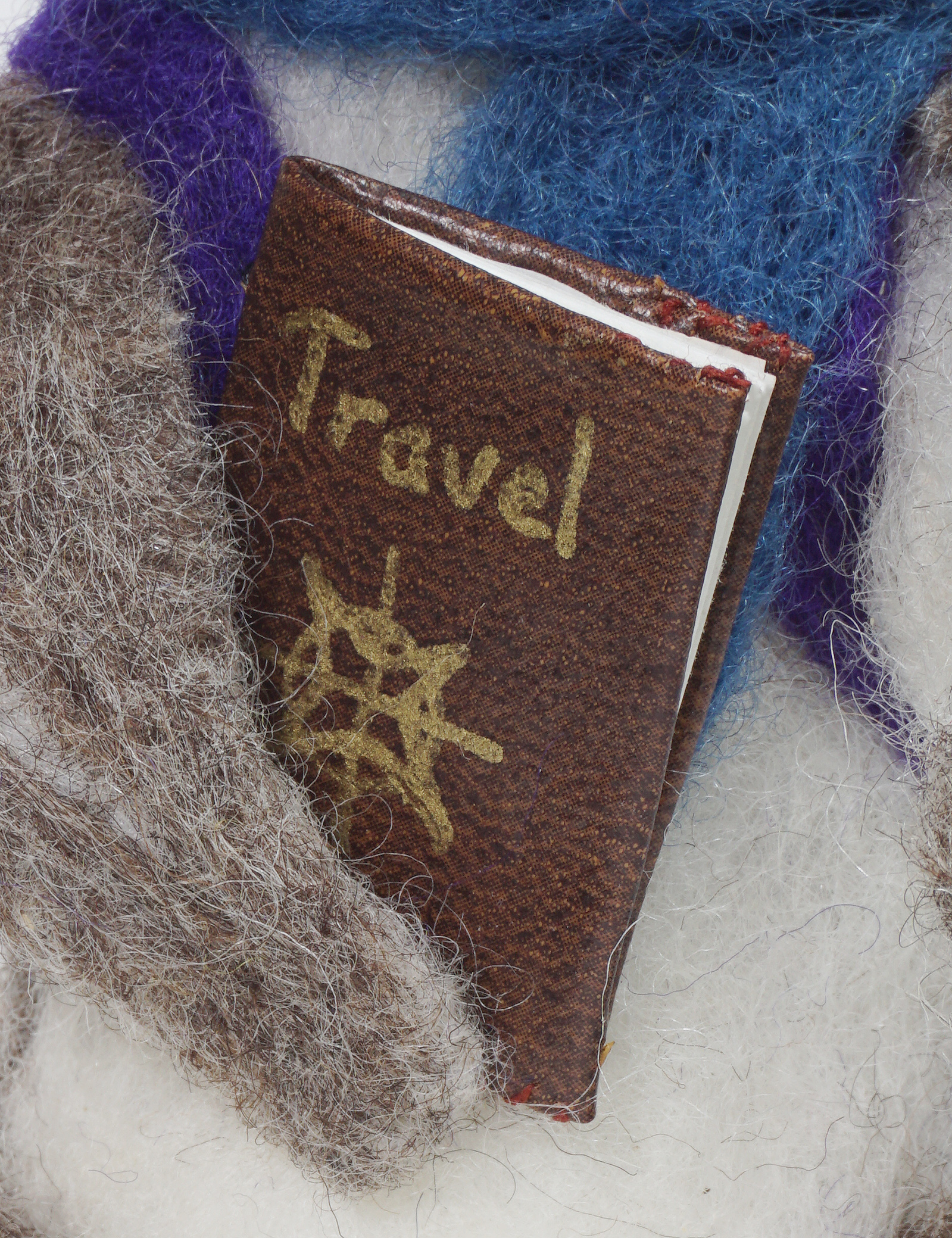 Adventure Begins anthropomorphic needle felted mouse - closeup of travel journal