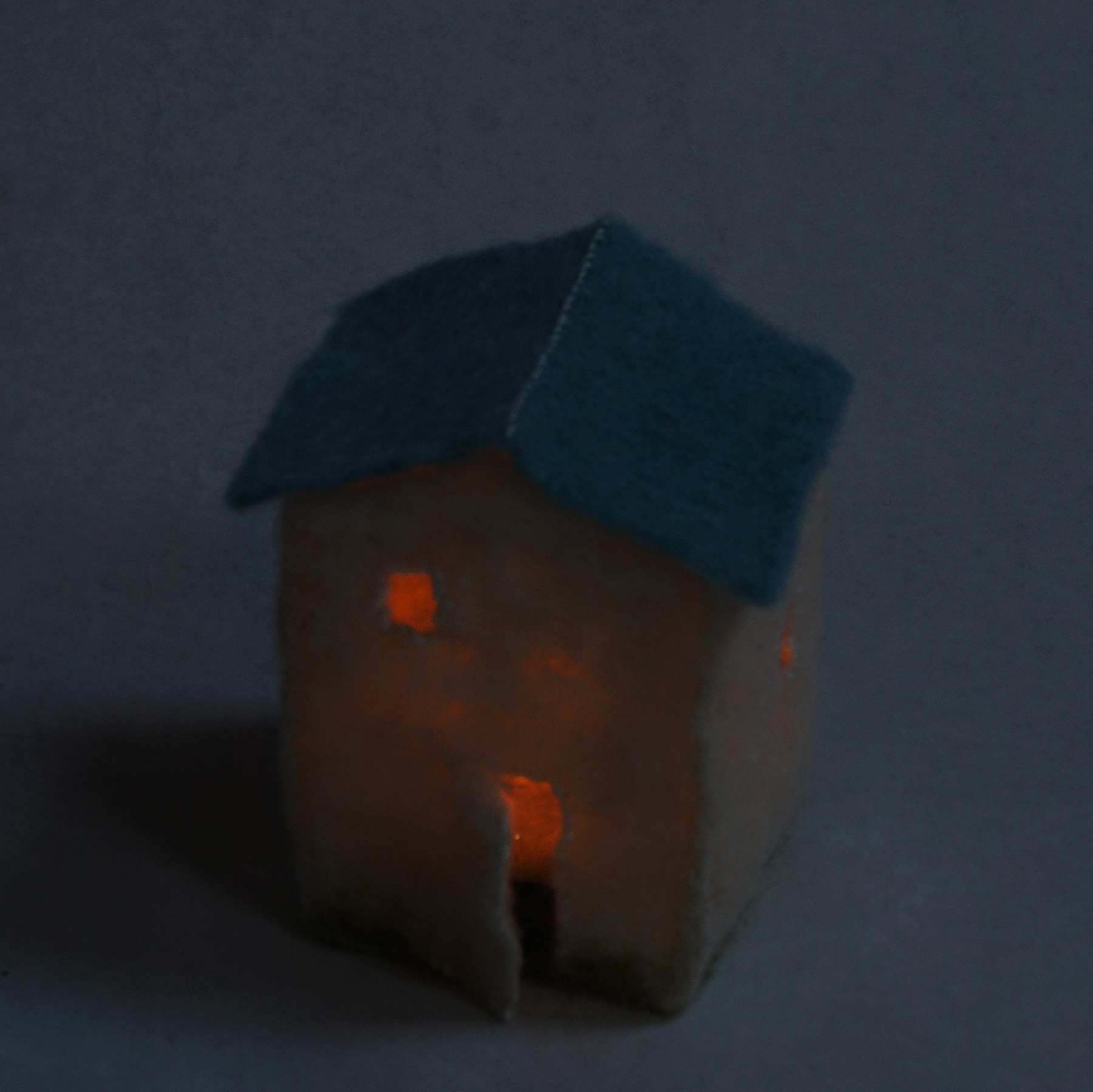 miniature needle felted house lantern