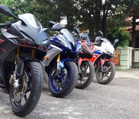 Honda CBR250RR berjejer dengan YZF-R6 dan CBR series lainnya.. Pict Instagram