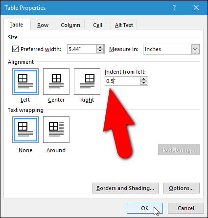 Cara Indent Table di Microsoft Word