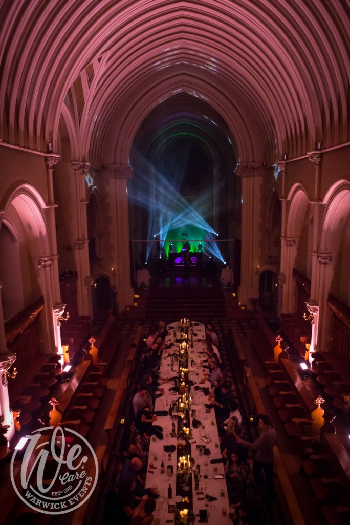 VIP Dinner in a Monastery with Rave Lighting Stanbrook Abbey