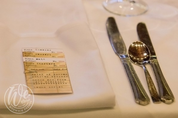 Event props library themed dinner menu card