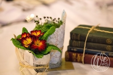 Library-themed-dinner-plants-no-waste-table-decor