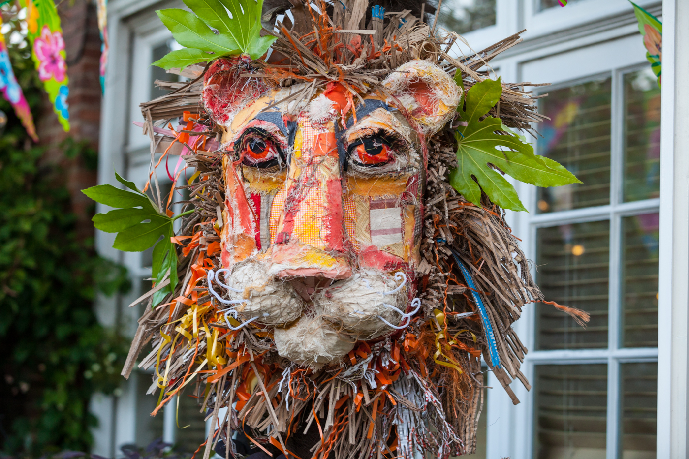 Lion made from recycled materials by Escape Arts, decor for a Warwick Events Hawaiian party