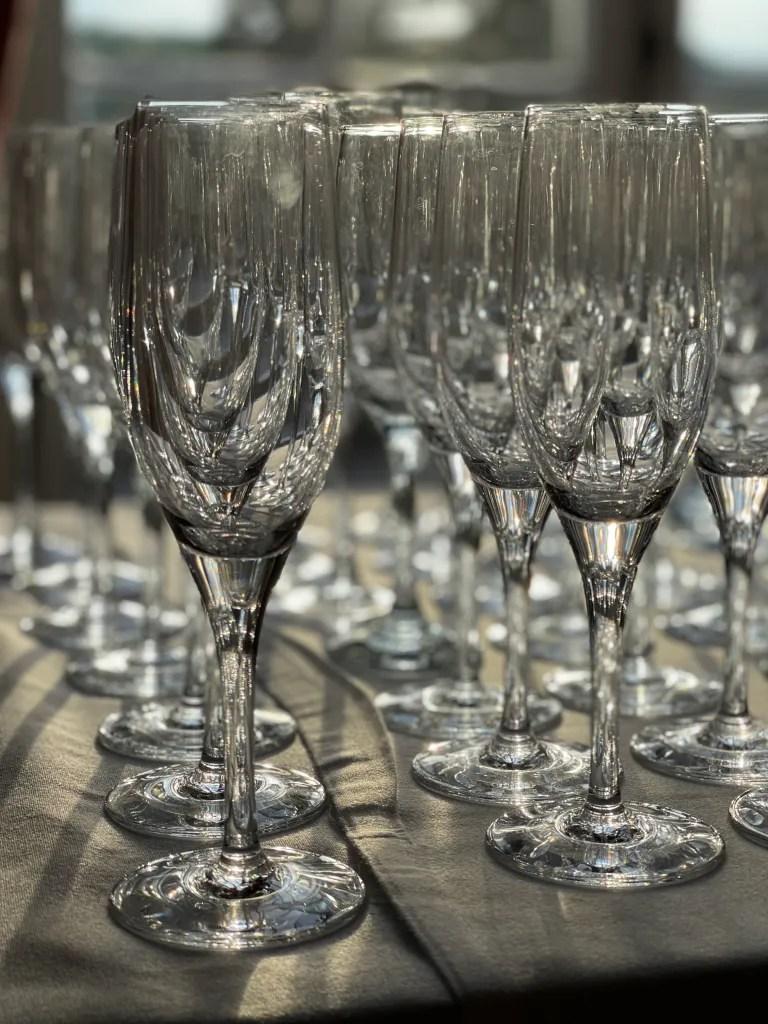 Champagne glasses at VIP hospitality