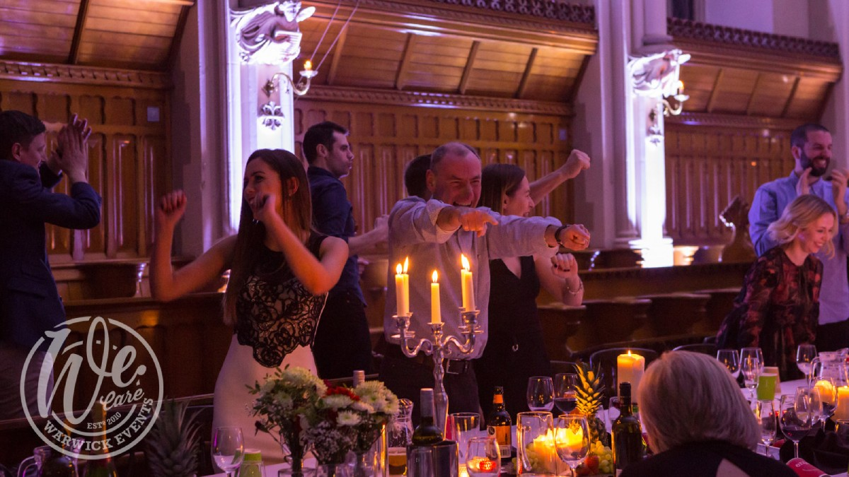 Warwick Events Dinner and Rave in a Monastery Guests Dancing and Laughing