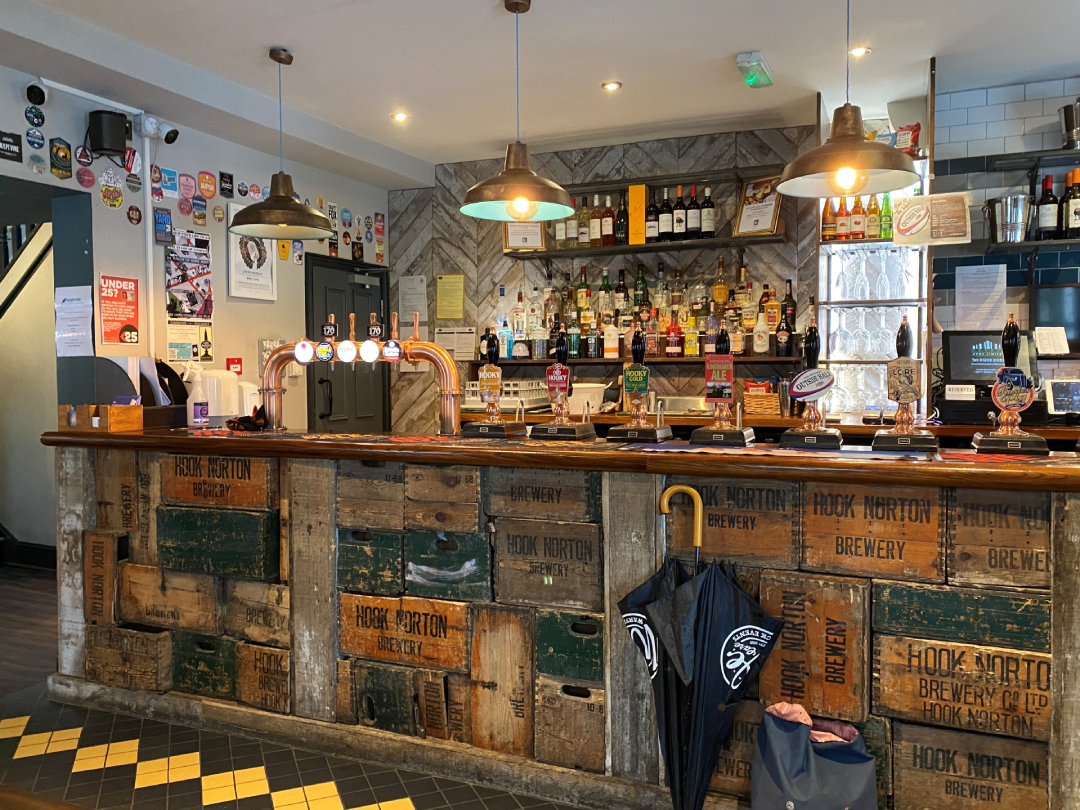 Pub bar made from upcycled beer crates