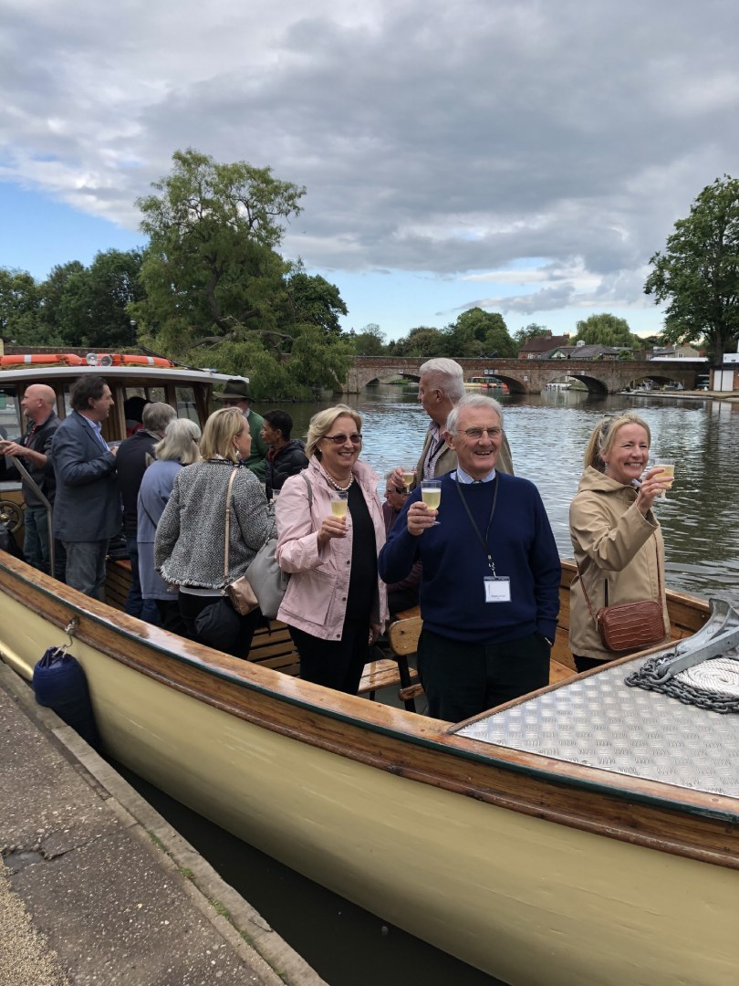 Best of British guests enjoying champagne on their boat