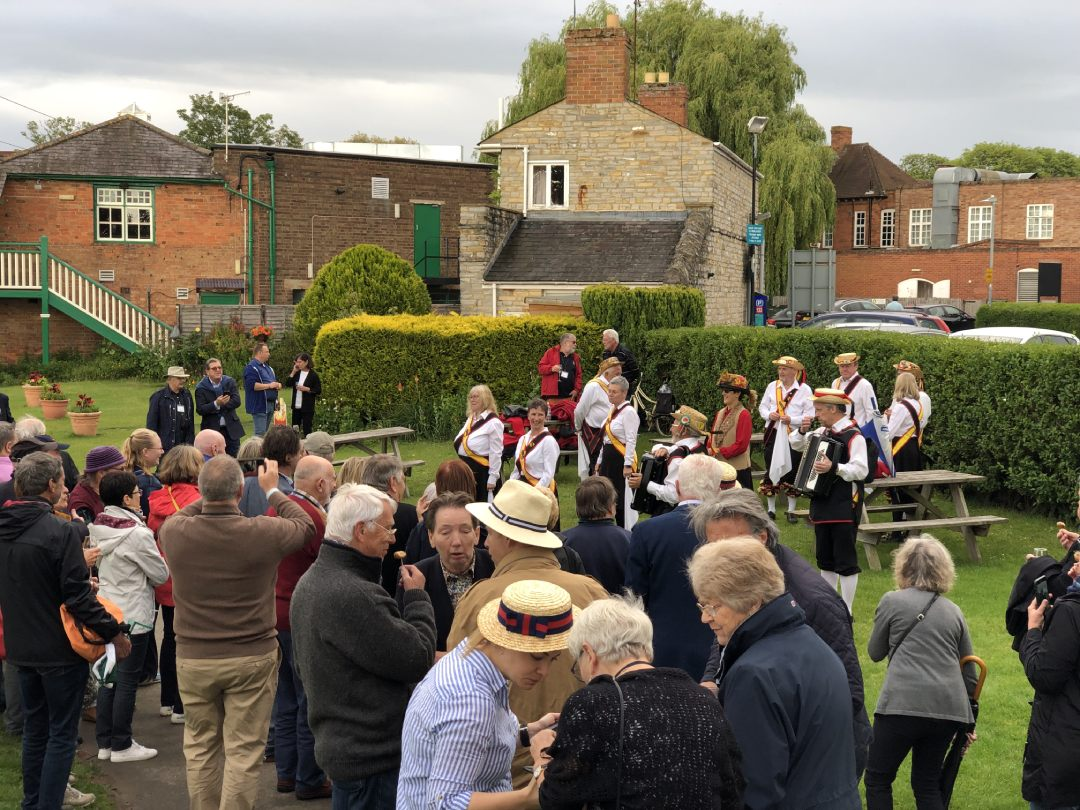 Best of British guests enjoying canapes and Morris dancers