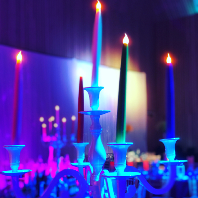 Candelabra of brightly coloured led candles