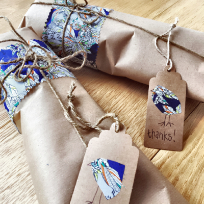 recycled gifts beautifully wrapped in brown paper and twine
