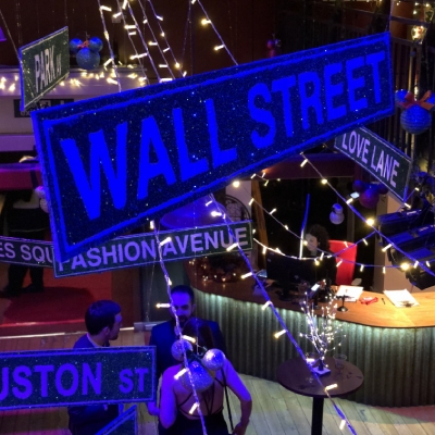 New York Wall Street party decor signage