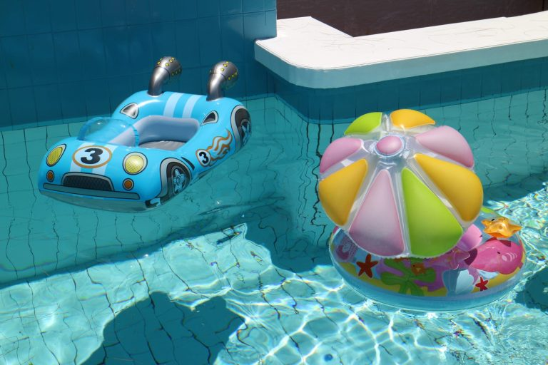 closeup of pool floats