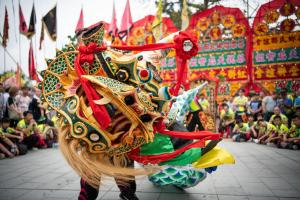 lion dances with blurred crowd