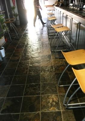 Slate Tiled Floor After Restoration in Leamington Spa Pub Restaurant
