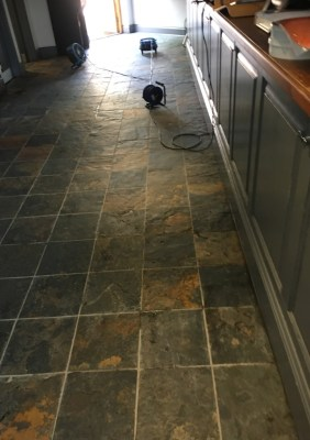 Slate Tiled Floor Before Restoration in Leamington Spa Pub Restaurant