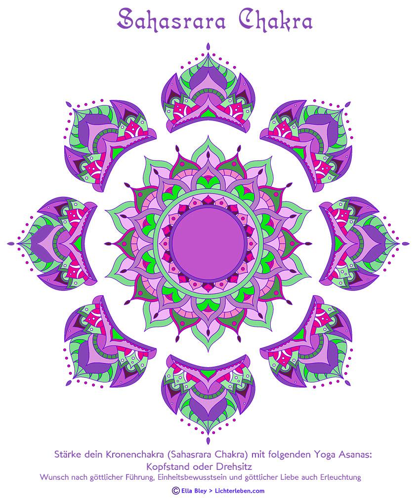 Das Sahasrara Chakra Befindet Sich Oben Auf Dem Kopf Auf