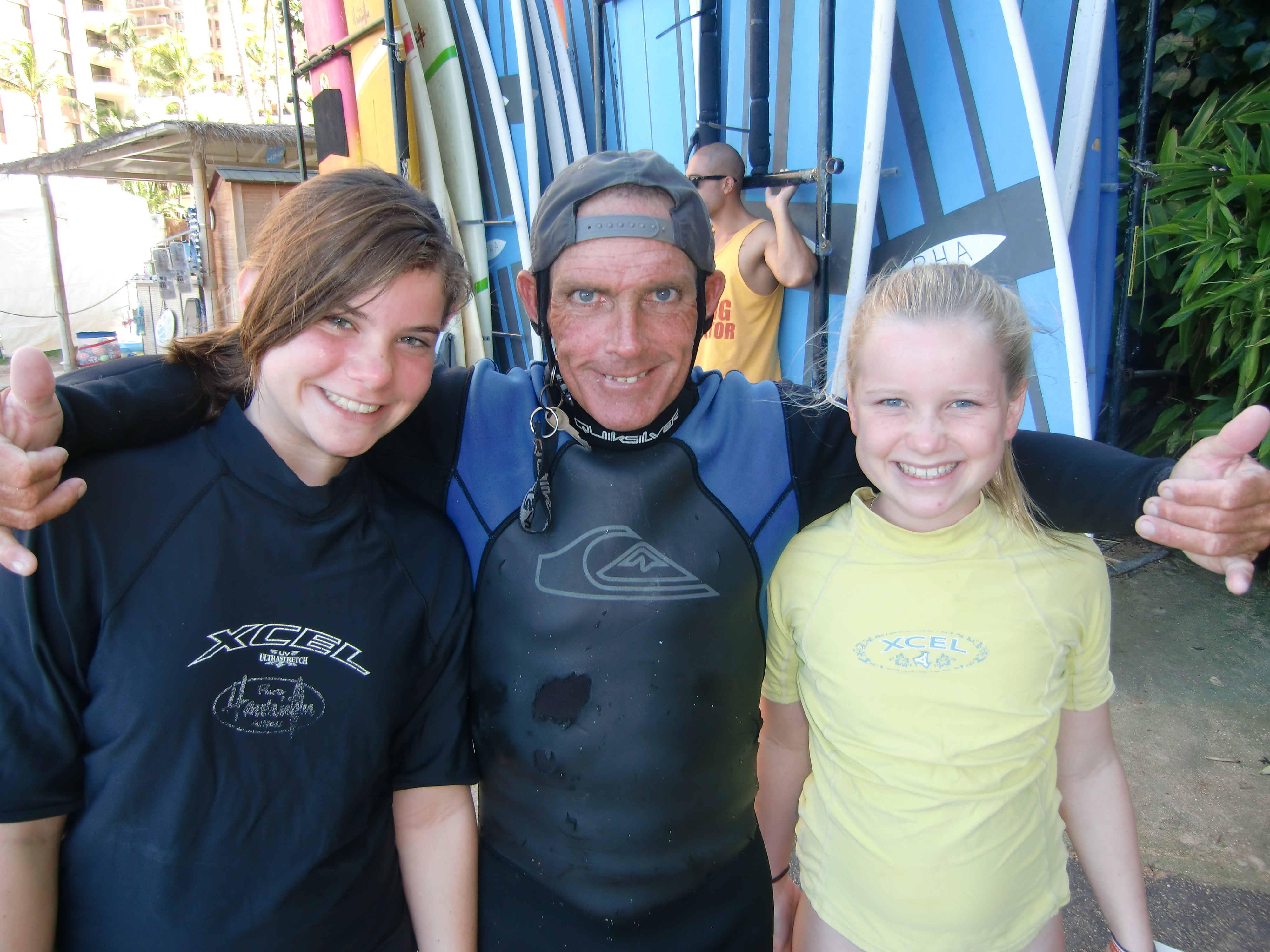 Sophie and Annie with their surfing instructor