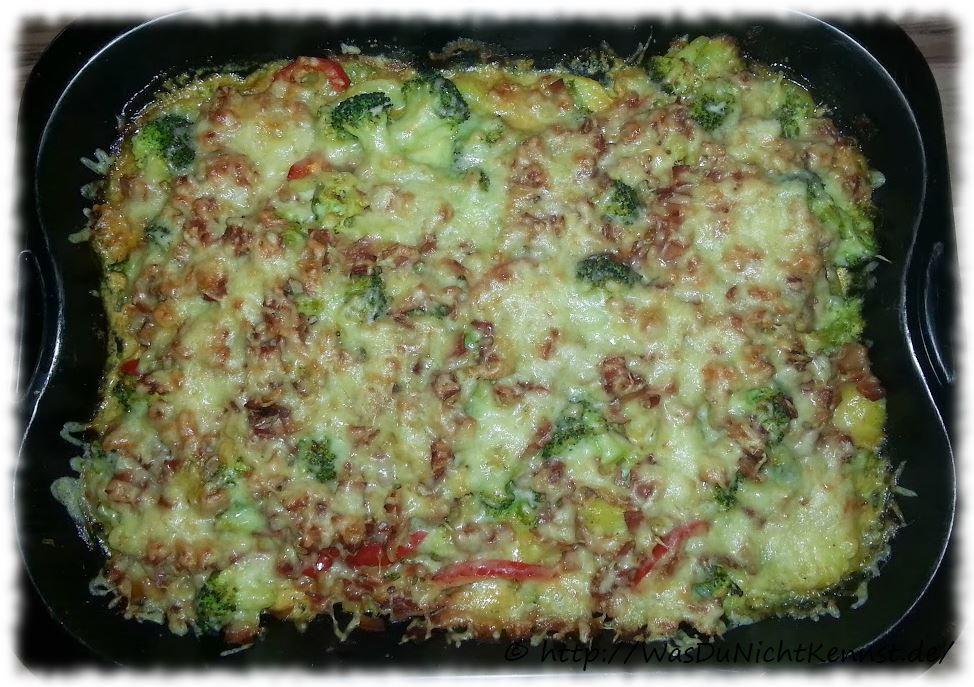 Kartoffelgratin mit Brokkoli und Schinken