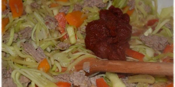 Gemüse-Hackfleisch-Sauce Lasagne