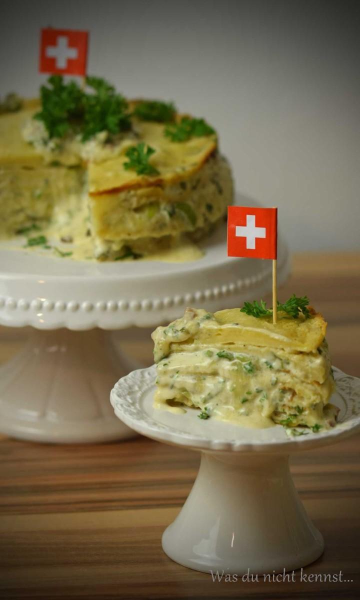 Pfannkuchentorte mit Raclette Suisse