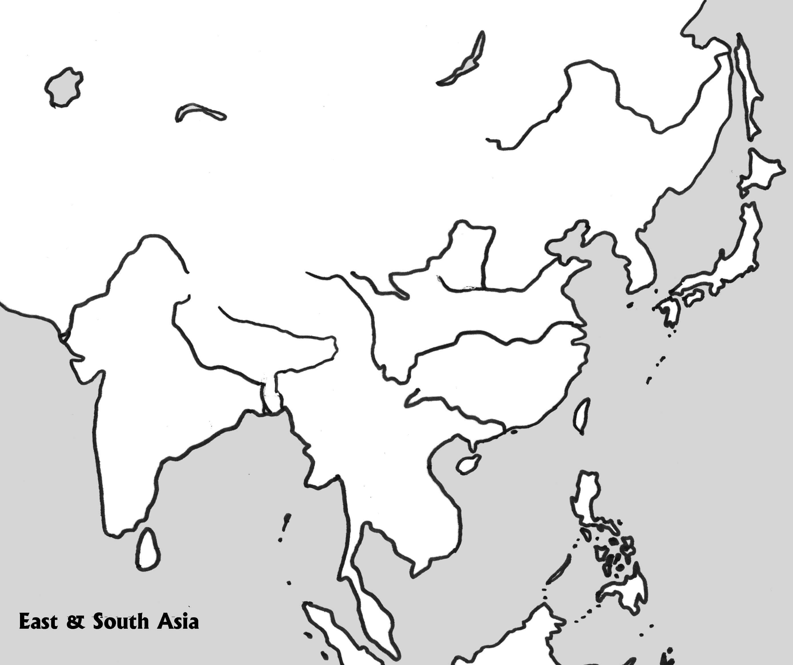 Physical Outline Map Of E Amp S Asia