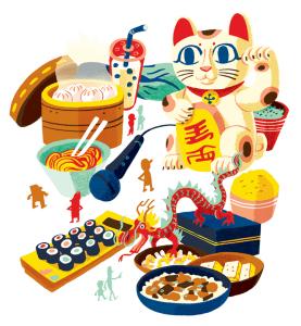 Illustration of various Asian motifs including a dragon, sushi, rice, noodles, pork buns, boba tea, and a Lucky Cat (Maneki Neko)