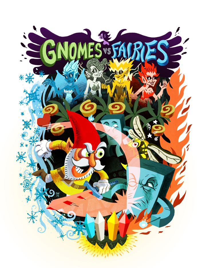 Video game cover art for Gnomes vs Fairies by Prismic Studios