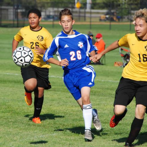 Washburn soccer C squad in action against DeLaSalle