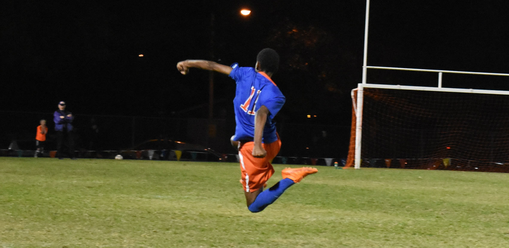 Hassan Adan celebrates winning goal in 6AA Championship Match