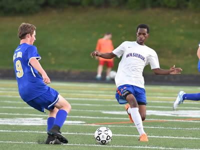 Washburn varsity soccer player Hassan Adan against Holy Angels