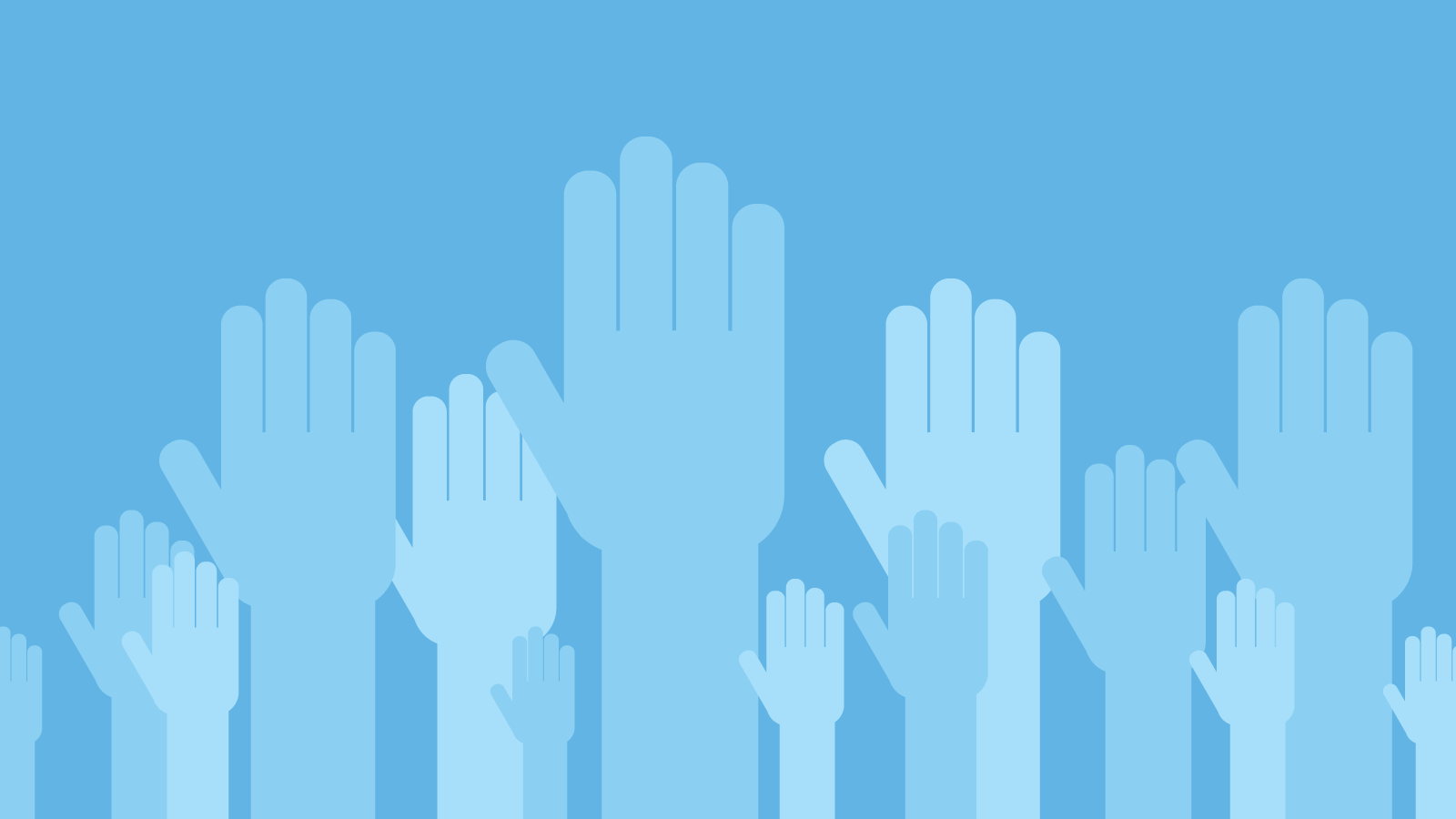 Raised hands on a blue background
