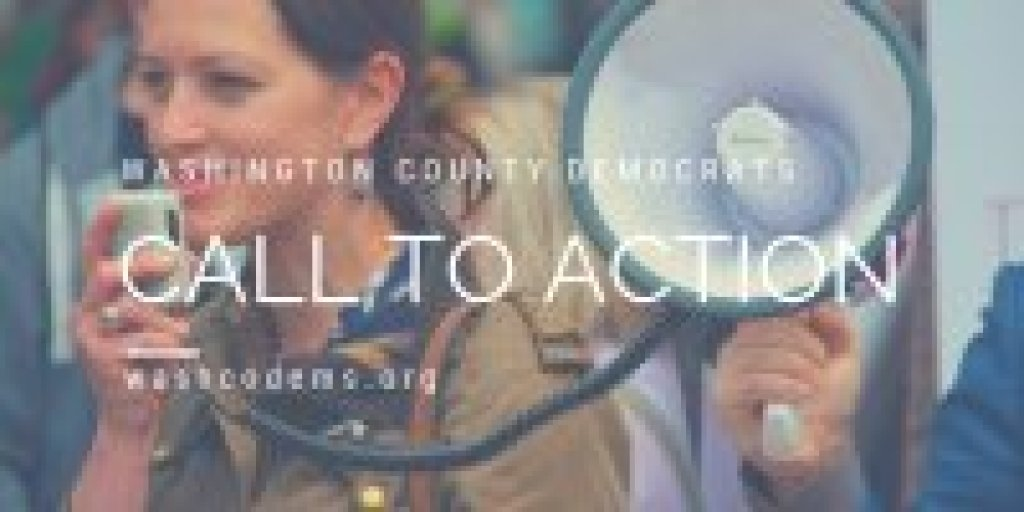 WashCo Dems Call to Action woman with bullhorn