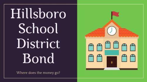 Hillsboro School District Bond with icon of a school house