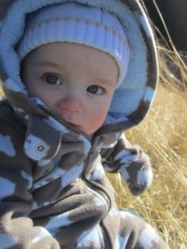 Taking a break in the field to nurse baby Jesse