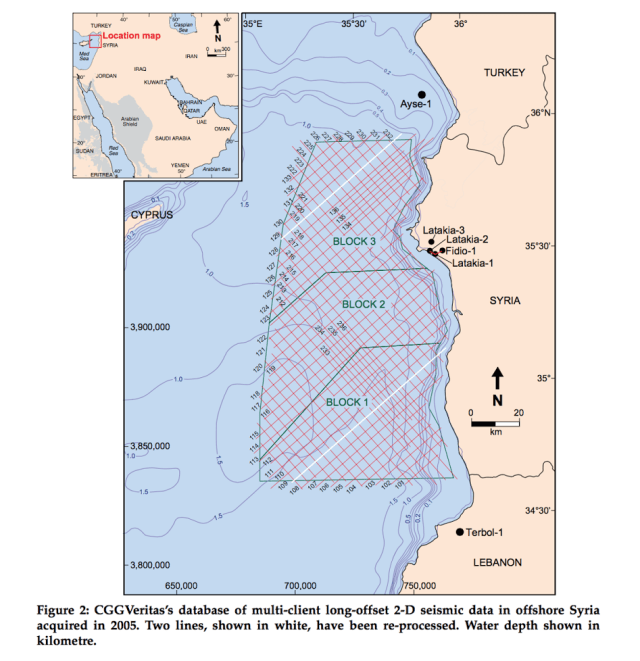 This section in the territorial waters of Syria has been subdivided into three sections for exploration and drilling.