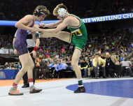Walker Moore and Trevor Fauver wrestle in Class B 106 pound state championship match.