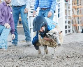 Mutton Buster Cameron Worsen Friday night.