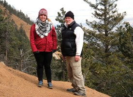 From right, Emily and Joe Burns along Seven Bridges trail in North Cheyenne Canyon, Colorado Springs. CO.