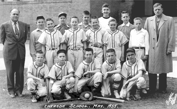 Emerson Elementary School Seventh Grade Baseball Team, May 1955