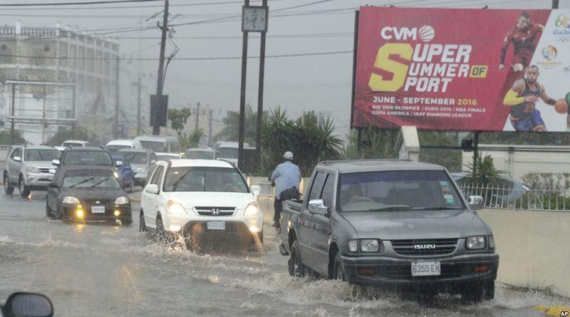 Hurricane Matthew blowing through Caribbean