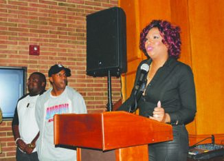 """Traci Braxton, singer and producer, tells students how important the film """"Carter High"""" is in terms of its message about the impact of choices at the Howard University Blackburn Center on Nov. 2. Photo by Roy Lewis"""