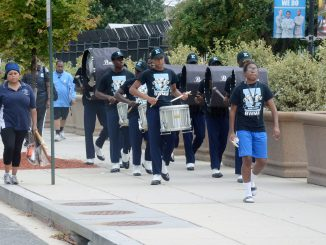 The Eastern High School marching band participates in a drum line competition at RFK Stadium in Northeast on Sept. 17 before the Nation's Football Classic between Howard and Hampton. / Photo by Roy Lewis